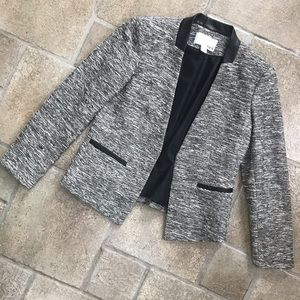 Bar III black and White Open Front Blazer